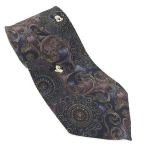 Disney Mickey Purple Navy Tie Silk Ornate Floral